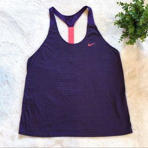 Nike dri fit elastica purple running tank top M